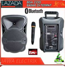 PROMO PORTABLE SPEAKER SALON AKTIF BLUETOOTH KARAOKE DAT 8 IN.