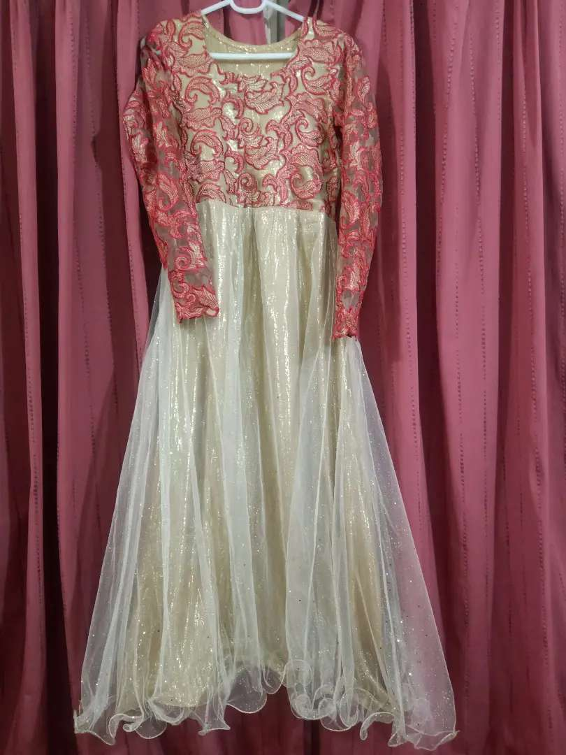 Golden&red Full maxi.Stuff net with shimmer lining