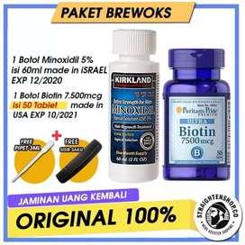 KRIKLAND MINOXIDIL 5% + Biotin 7500 McG isi 50 100% original