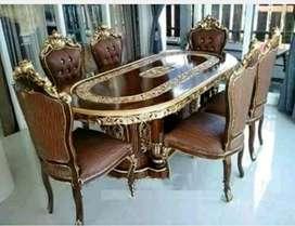 Set meja makan jati 6 kursi
