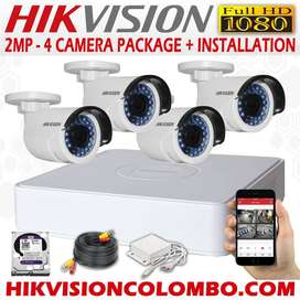 complete set of 4 CCTV cameras 2 mp(1080 p) with installation