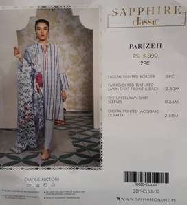 SAPPHIRE Unstitched Lawn Embroidered 2 Piece suit