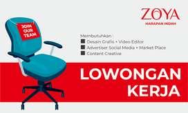 Dibutuhkan DESAIN GRAFIS VIDEO EDITOR, ADVERTISER dan CONTENT CREATIF