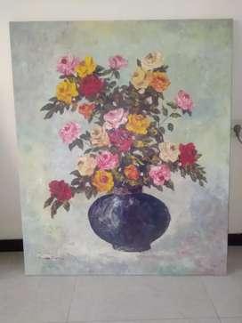 Lukisan Kanvas Ukuran Besar 100 x 120 Tanpa Pigora.  Pelukis: MUSTAMUN