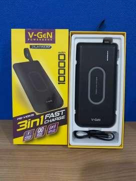 powerbank wireless fast charging v-gen 10000mah 10W 37W 1tahun vgen
