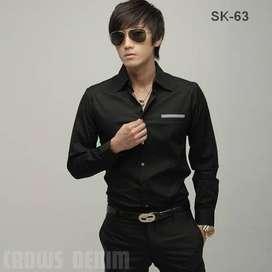 Kemeja Hitam Korean Style - SK63