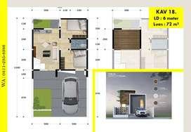Hanya 1 Unit Rumah siap bangun LT 72 m2 - Rancangan Desain Modern deng