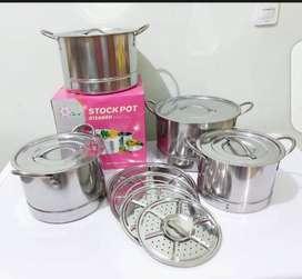 Panci set steamer stock pot stainless 4 in 1