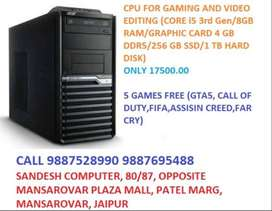 CPU FOR GAMING AND VIDEO EDITING (CORE i5 3rd Gen/8GB RAM/GRAPHIC CARD