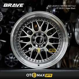 Velg Mobil Brave (902) Ring 17 Hyper Black Lip Polish+Chrome Rivert