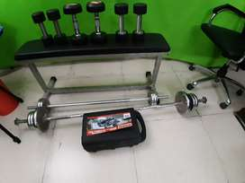 Multiple Dumbbells & Rods & Bench for Sale