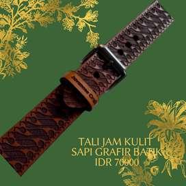 Strap tali jam tangan kulit sapi grafir batik