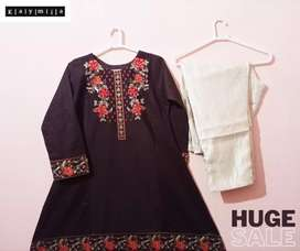 Stitched Embroidered Khaddar 2pc Dress*Free Delivery
