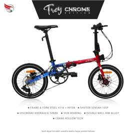 Sepeda lipat Troy 10 speed Red Blue Crome edition