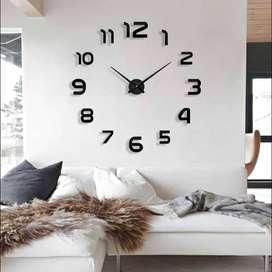 Jam dinding raksasa / besar unik DIY diameter 80-130cm - Hitam