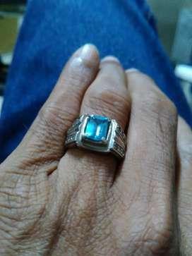 Jual batu cincin biru topaz