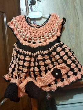 Children Sweater with Shoes and Hair Band.