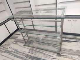 Glass Counter with Pure Stainless Steel frame.