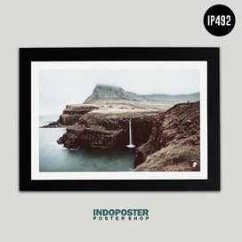 IP492 Poster Hiasan Dinding Scandivanian Norway Pantai 45x30cm