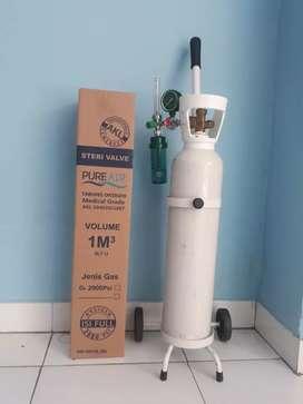Tabung oksigen ukuran 1m3 lengkap tinggal