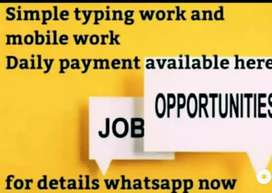 Home based mobile and typing work with daily payments