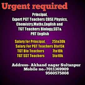 Urgent requirement for Teachers