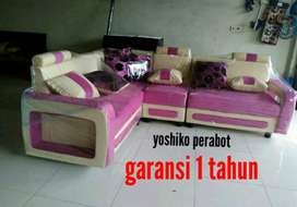 Yoshiko perabot - sofa L monera pink cream
