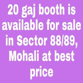Prime Location 20 Gaj Booth is available for sale in Sector 88/89