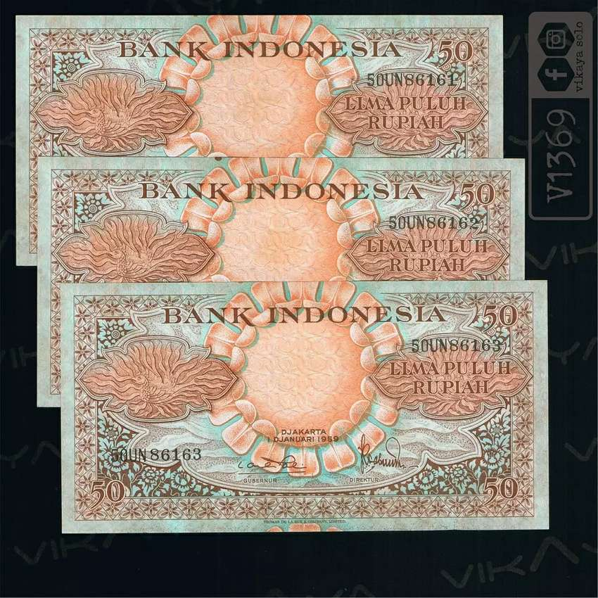 V1369 Uang Kuno 3 Lembar Urut Pecahan 50 Rupiah Seri Bunga Tahun 1959