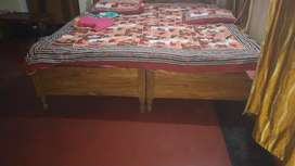 Wooden 2 nos Single Bed