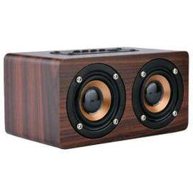 Speaker Bluetooth Stereo bass bahan kayu premium