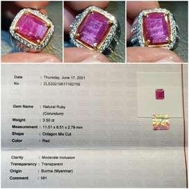Batu Red Ruby Burma Myanmar Belang No Heat Sertifikat 3.50 crt