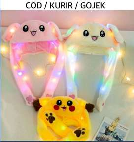 bunny hat Led + gerak | topi gerak dancing led | mainan anak