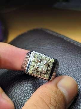 Cincin berlian Ikat perak ukuran 19