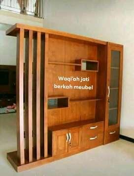 Bufet tv minimalis modern & mewah, P. 200xT. 210cm,  bahan k