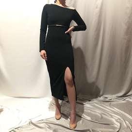 S&E Black Slit Dress