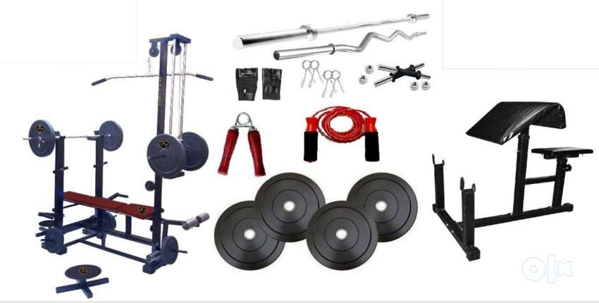 20in1 Home gym equipment: 50 Kg Rubber Weight+3 Ft Curl+5 Ft plain rod 0