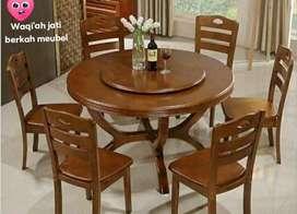 Meja makan bundar minimalis putar modern kursi 6, bahan kayu jati tua