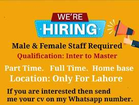 We required to Male & female staff in office work