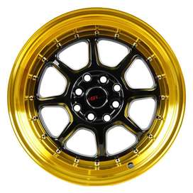 JUAL VELG HSR SC-03 R16X8/9 H8X100-114.3 ET30/25 BK/GOLD