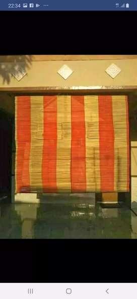 Tirai Kayu miranti dan tikar rotan dan isi bambu