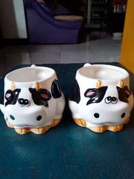 Cangkir Keramik Porselen Kuno Mug Karakter Sapi Pajangan Antik Unik
