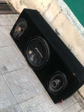 Pioneer Sub Woofer With Speaker and v12 amplifier