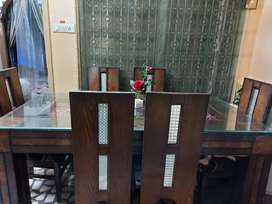 6 seater Wooden Dining Table with glass top