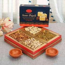 Dry Fruits Boxes Bikaneri Soan Papdi Rasgulle Cham Cham gift packs