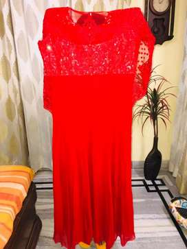 Sizzling Red full length and full sleeves gown