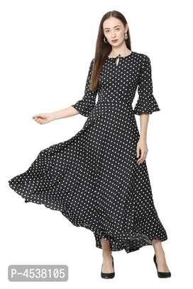 Women's Printed Crepe Maxi Length Dress