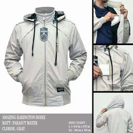 Jaket haringgton hoddie gray