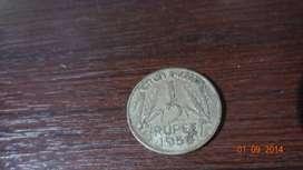 1/2 Rupee 1956 coin