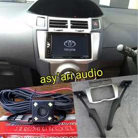 Paket double Din TV plus kamera frame untuk Toyota Yaris